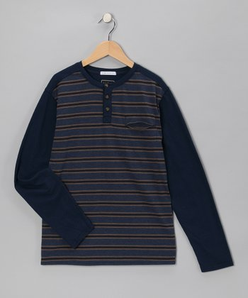 Navy Stripe Henley - Boys
