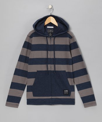 AMBIG Navy Stripe Lockhart Zip-Up Hoodie - Boys