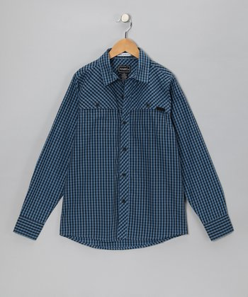 Blue Casey Gingham Button-Up - Boys