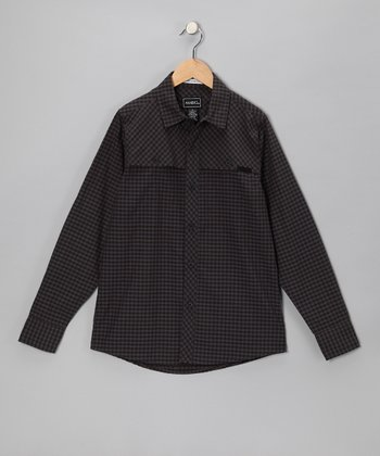Brown Casey Gingham Button-Up - Boys