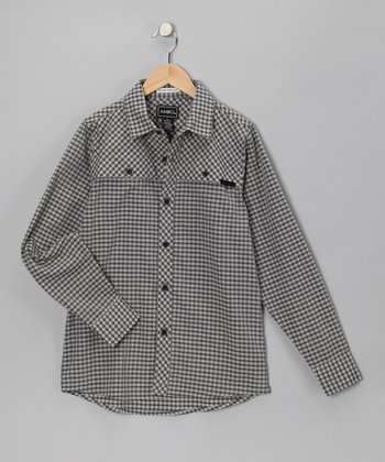 Gray Casey Gingham Button-Up - Boys