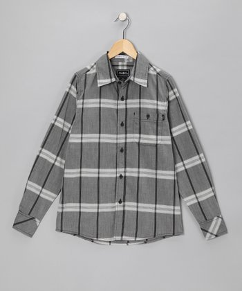 Black Plaid Vaden Button-Up - Boys