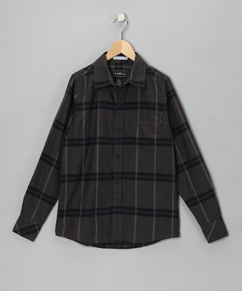 Brown Plaid Vaden Button-Up - Boys