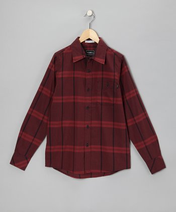 Burgundy Plaid Vaden Button-Up - Boys