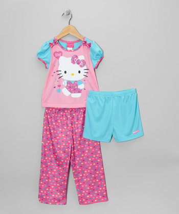 Pink & Aqua Hello Kitty Pajama Set - Toddler