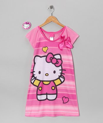 Pink Bow Hello Kitty Nightgown & Key Chain - Girls