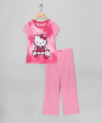 Pink 'So Sweet' Hello Kitty Pajama Set - Girls