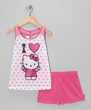 Fuchsia Heart Hello Kitty Pajama Set - Girls
