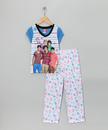 White & Blue One Direction Stripe Pajama Set - Girls