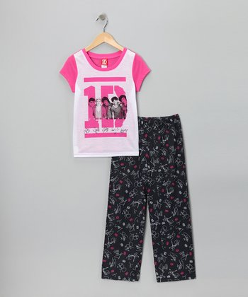 Pink & Black One Direction Signature Pajama Set - Girls