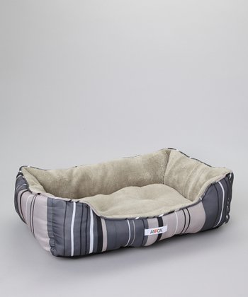 Gray Stripe Cuddler Pet Bed