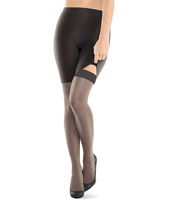Black Ultra-Sheer Shaper Shorts & Thigh-Highs - Women