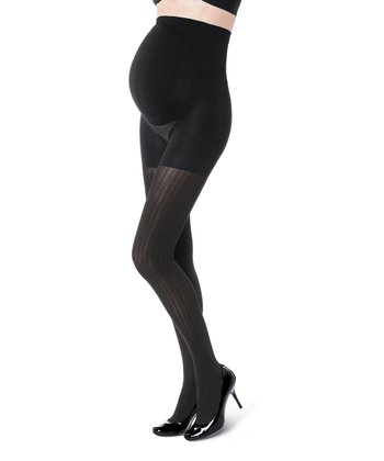 Black Opaque Stripe Maternity Shaper Tights