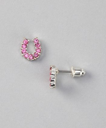 Pink Rhinestone Horseshoe Stud Earrings