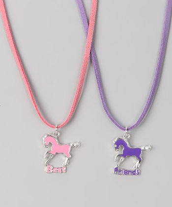 Pink & Purple 'Best Friends' Necklace Set