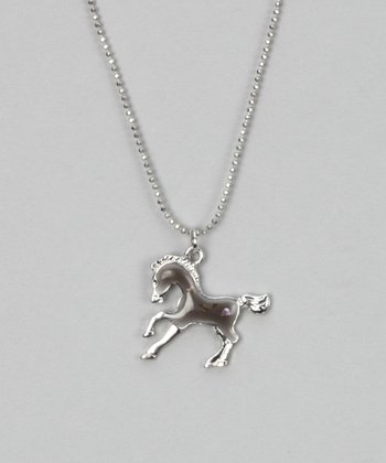 Black Enamel Horse Necklace