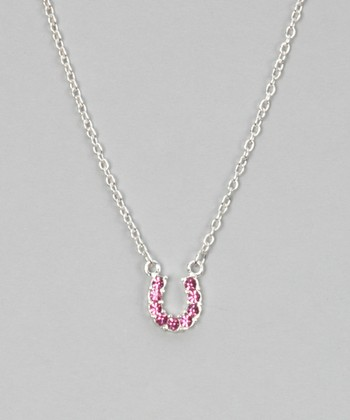 Pink Rhinestone Horseshoe Necklace