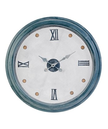 White & Dusty Blue Wall Clock