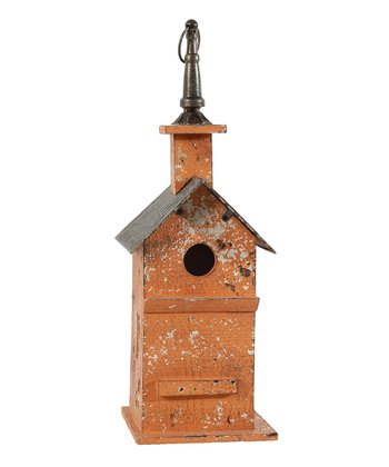 Orange Distressed Birdhouse