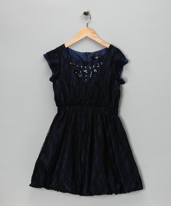 Black Lace Overlay Dress - Girls