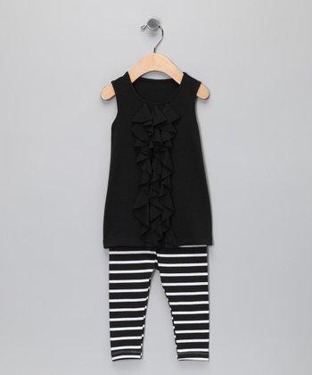 Black Ruffle Knit Tunic & Leggings - Infant