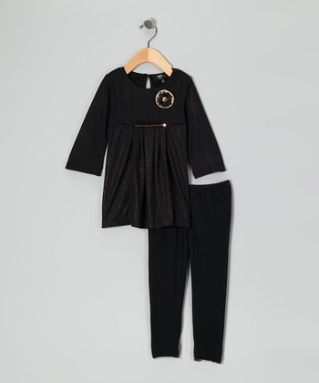 Black Flower Tunic & Leggings - Infant