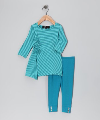 Teal Stripe Rosette Tunic & Leggings - Infant