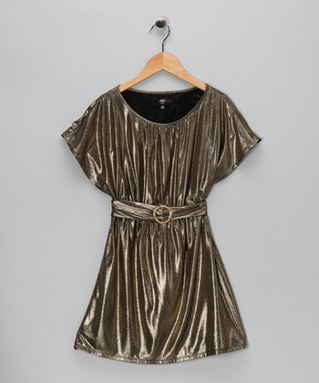 Gold Shimmer Buckle Dress - Girls