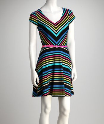 Royal Stripe V-Neck Belted Dress