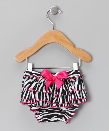 Black Zebra Ruffle Diaper Cover - Infant