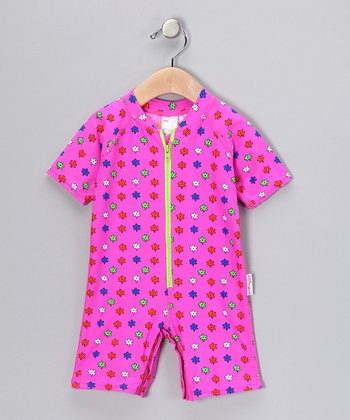 Pink Flora One-Piece Rashguard - Infant