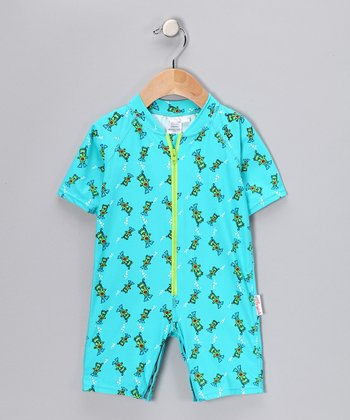 Blue Scuba Bear One-Piece Rashguard - Infant