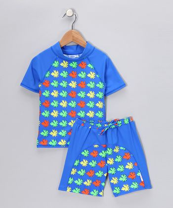 Blue Matisse Rashguard & Swim Shorts - Toddler & Boys