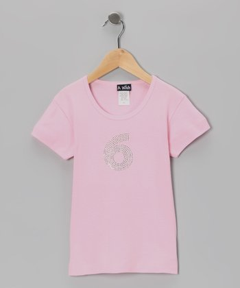 Pink '6' Short-Sleeve Tee - Toddler & Girls