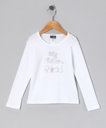 White 'Big Sisters Rock' Tee - Toddler & Girls