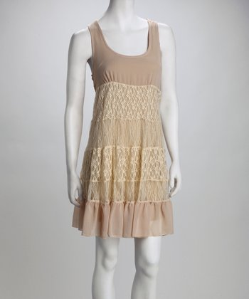 Beige Overlay Lace Dress