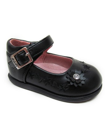Aadi Black Flower Ankle-Strap Flat