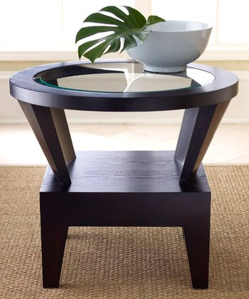 Espresso & Glass Morgan Round End Table