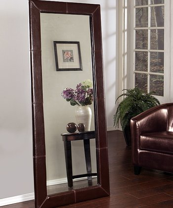 Brown Leather Windsor Floor Mirror