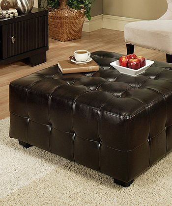 Tribeca Leather Square Cocktail Ottoman