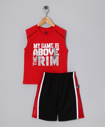 Red 'My Game Is' Tank & Shorts - Toddler & Boys