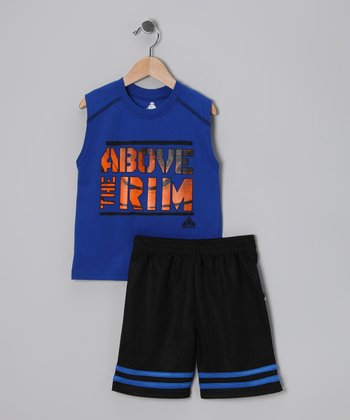 Blue & Black Basketball Tank & Shorts - Toddler & Boys