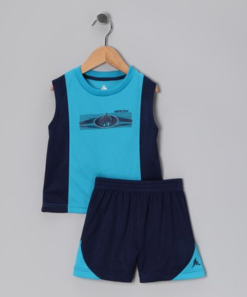 Royal & Navy Sleek Logo Tank & Shorts - Infant, Toddler & Boys