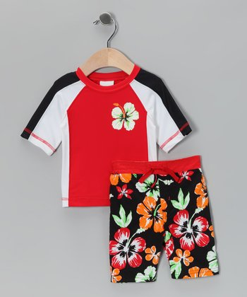 Red Flower Rashguard & Boardshorts - Infant & Toddler