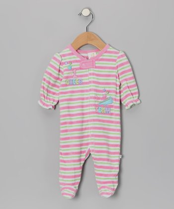 Pink & Lime '#1 Cheer' Stripe Footie - Infant