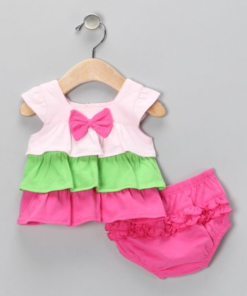 Pink Ruffle Dress & Diaper Cover - Infant