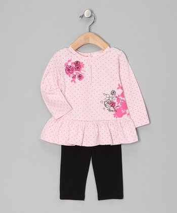 Pink Flower Ruffle Tunic & Leggings - Toddler