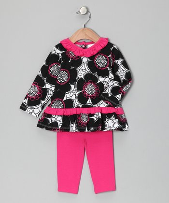 Fuchsia & Black Skirted Tunic & Leggings - Toddler