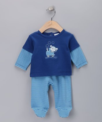 Blue Stripe Train Layered Top & Footie Pants - Infant