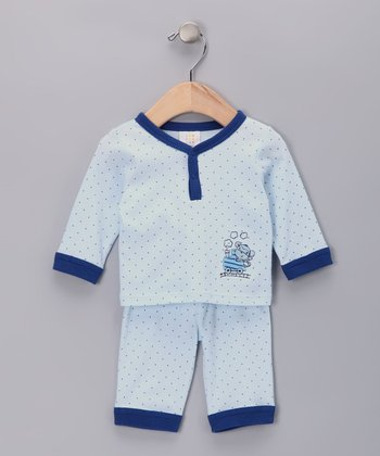 Light Blue Train Polka Dot Top & Pants - Infant